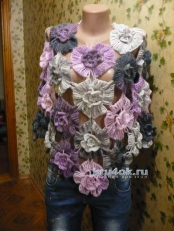 Вязаная накидка – пончо Дикая орхидея. Вязание крючком.