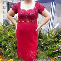 Вязаное крючком платье. Работа Ирины