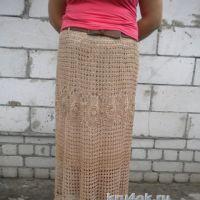Вязаная крючком длинная юбка. Работа Ирины