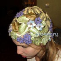 Ажурная шапочка Фиалки. Работа Ольги