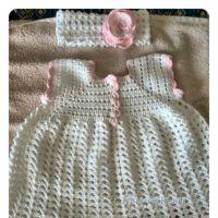 Крестильное платье крючком. Работа Елены