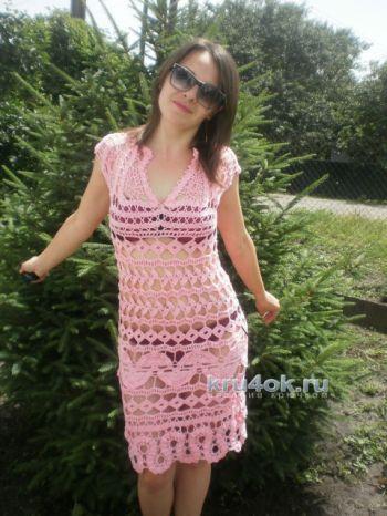Вязаное платье Нежность. Брюггское кружево. Вязание крючком.