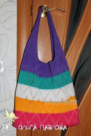 Вязаная сумочка из капронового шнура. Работа Ольги Павловой. Вязание крючком.