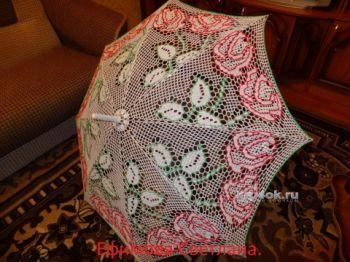Ажурный зонт. Работа Ефимовой Светланы. Вязание крючком.