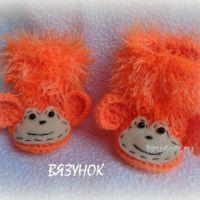 Вязаные пинетки — обезьянки. Мастер класс от Екатерины Карабиной