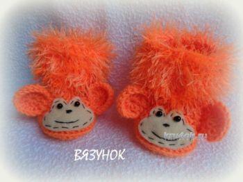 Вязаные пинетки – обезьянки. Мастер класс от Екатерины Карабиной. Вязание крючком.