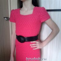 Вязаное платье для девочки. Работа Арины