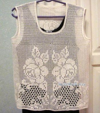 Блуза в филейной технике. Работа Любови