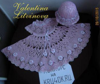 Комплект Цветочная феерия. Работа Валентины Литвиновой. Вязание крючком.