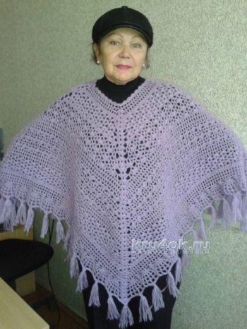 Вязаное крючком пончо. Работа Галины Коржуновой. Вязание крючком.