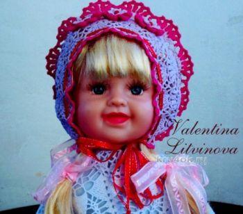 Капор для девочки. Работа Валентины. Вязание крючком.