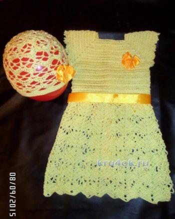 Детское платье. Работа Натальи. Вязание крючком.