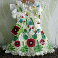 Детское платье и сумочка в технике ирландского кружева