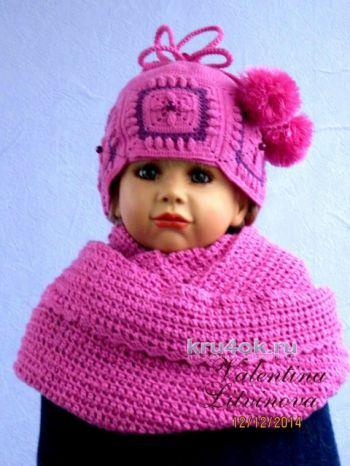 Снуд и шапочка для девочки. Работы Валентины Литвиновой. Вязание крючком.