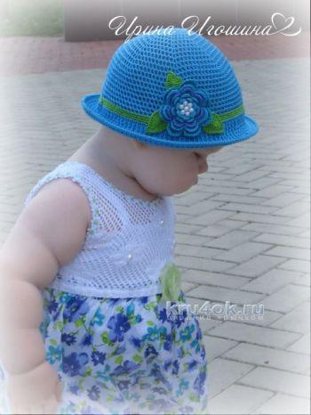 Шляпка – панамка для девочки. Работа Ирины Игошиной. Вязание крючком.