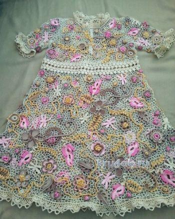 Платье для девочки. Работа Людмилы Максютовой. Вязание крючком.