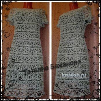 Вязаное крючком платье. Работа Татьяны Бажановой. Вязание крючком.