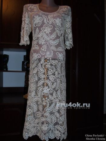 Платье Карамельная роспись. Работа Елены Павленко. Вязание крючком.