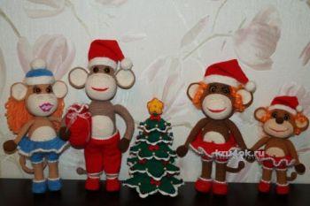 Новогодняя обезьянка. Мастер – класс от Юлии Конончук. Вязание крючком.