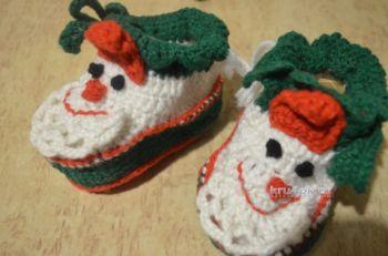 Тапочки – пинетки Дед Мороз. Мастер – класс Анны Кузнецовой. Вязание крючком.