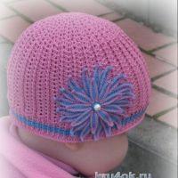 Летняя шапочка для девочки. Работа Ирины Игошиной