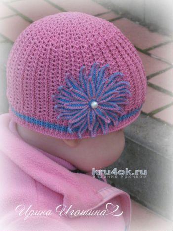 Летняя шапочка для девочки. Работа Ирины Игошиной. Вязание крючком.