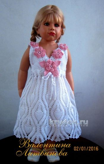Нарядное платье для девочки. Работа Валентины Литвиновой. Вязание крючком.
