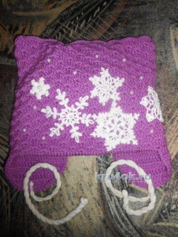 Зимняя шапочка для девочки. Работа Галины Лукериной. Вязание крючком.