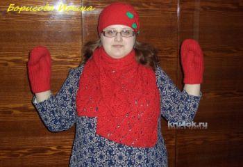Комплект Красная шапочка. Работа Борисовой Ирины. Вязание крючком.