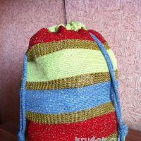 Сумка — мешок, связанная тунисским крючком. Работа Татьяны