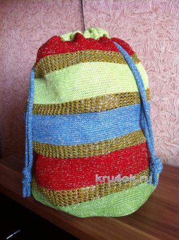 Сумка – мешок, связанная тунисским крючком. Работа Татьяны. Вязание крючком.