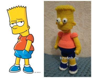 Барт Симпсон крючком, схемы вязания игрушки
