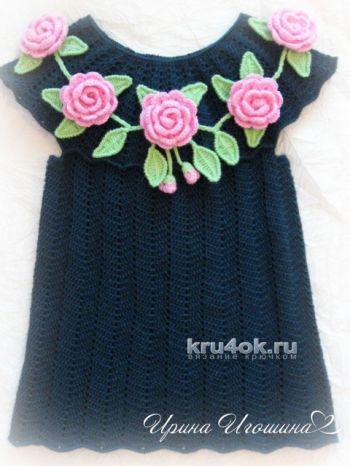 Платье – туника Розовые розы. Работа Ирины Игошиной. Вязание крючком.