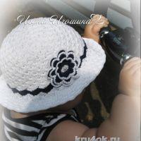 Шляпка для девочки крючком. Работа Ирины Игошиной