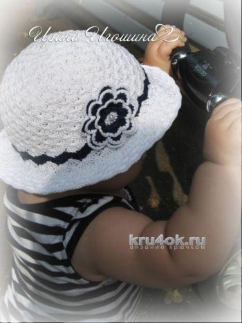 Шляпка для девочки крючком. Работа Ирины Игошиной. Вязание крючком.