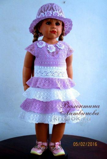 Платье для девочки Юная леди. Работа Валентины Литвиновой. Вязание крючком.