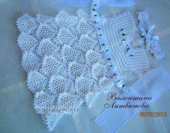 Платье для девочки Белое облачко. Работа Валентины Литвиновой. Вязание крючком.