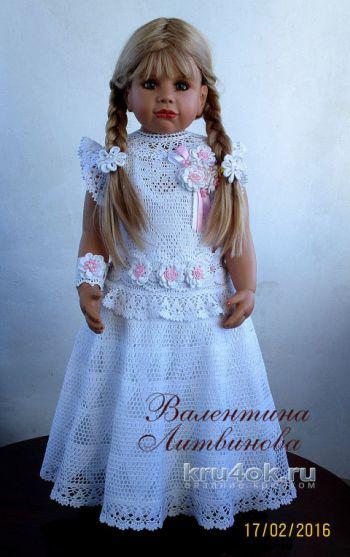 Платье Принцесса, филейное вязание. Работа Валентины Литвиновой. Вязание крючком.