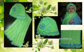 Шапочка и шарф. Работы Галины Леоновой. Вязание крючком.