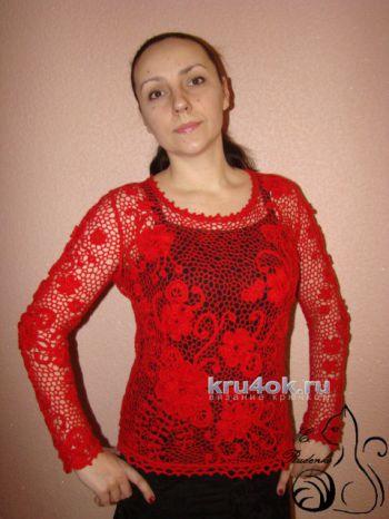 Пуловер Магия цвета. Работа Евгении Руденко. Вязание крючком.