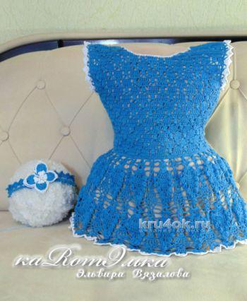 Платье и повязка для девочки. Работы Эльвиры Вязаловой. Вязание крючком.