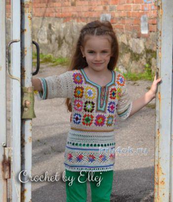 Туника для девочки крючком с мотивами бабушкин квадрат. Работа Елены Кожухарь