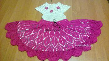 Ажурное платье для девочки. Работа Марины. Вязание крючком.