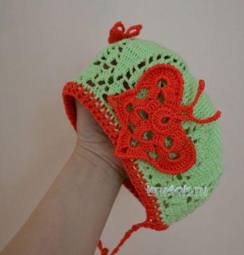 Беретик для девочки. Работа Натальи Ждановой. Вязание крючком.