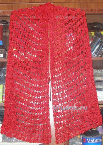 Цветочный шарфик крючком. Работа Елены. Вязание крючком.