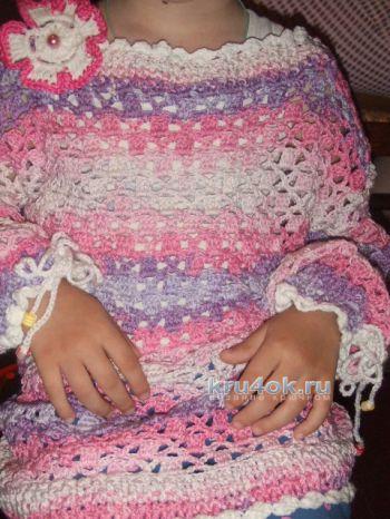 Пуловер летний Розовые сны. Работа Ольги. Вязание крючком.