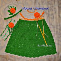 Вязаное детское платье. Работа Ирины Стильник