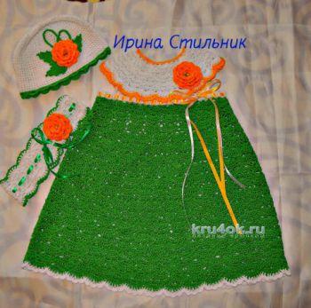 Вязаное детское платье. Работа Ирины Стильник. Вязание крючком.