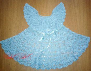 Бирюзовое платье для девочки. Работа Марины Михайловны. Вязание крючком.