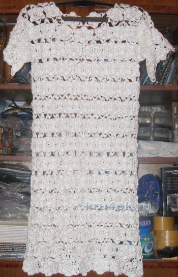 Платье для девочки Белые розы. Работа Елены. Вязание крючком.